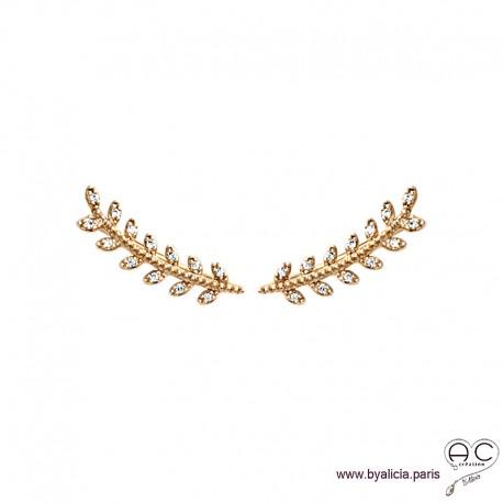 Boucles d'oreilles les barrettes contours d'oreilles feuilles de laurier sertis de zirconium brillant, plaqué or, femme
