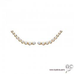 Boucles d'oreilles les barrettes contours d'oreilles sertis de zirconium brillant en plaqué or, femme