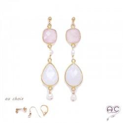 Boucles d'oreilles pierre de lune, quartz rose, perle, pierres naturelles et plaqué or, pendantes, création by Alicia
