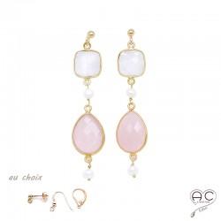 Boucles d'oreilles quartz rose, pierre de lune, perle, pierres naturelles et plaqué or, pendantes, création by Alicia