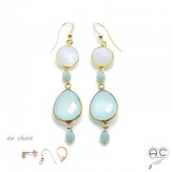 Boucles d'oreilles pierre de lune et calcédoine agua, pierres semi-précieuses et plaqué or, pendantes, création by Alicia