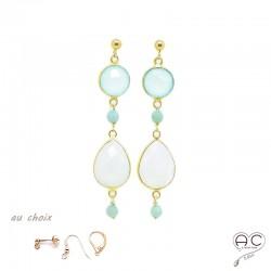 Boucles d'oreilles calcédoine agua et pierre de lune, pierres semi-précieuses et plaqué or, pendantes, création by Alicia