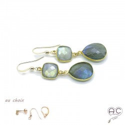 Boucles d'oreilles avec labradorite, pierre semi-précieuse et plaqué or, pendantes, création by Alicia