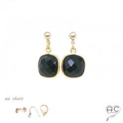 Boucles d'oreilles avec onyx noir, pierre semi-précieuse et plaqué or, pendantes, création by Alicia