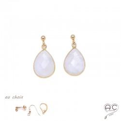 Boucles d'oreilles gouttes en pierre de lune, pierres semi-précieuses et plaqué or, pendantes, création by Alicia