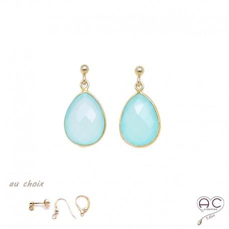 Boucles d'oreilles gouttes en calcédoine aqua, pierres semi-précieuses et plaqué or, pendantes, création by Alicia