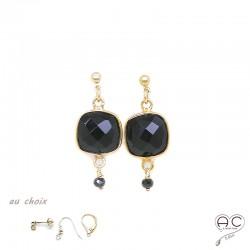 Boucles d'oreilles avec onyx noir, pierre semi-précieuse et plaque or, pendantes, création by Alicia