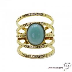 Bague avec amazonite ovale en cabochon, multiples anneaux diamanté en plaqué or, large, ouverte, pierre naturelle, femme