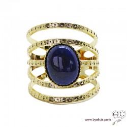 Bague avec lapis lazuli ovale en cabochon, multiples anneaux diamanté en plaqué or, large, ouverte, pierre naturelle, femme