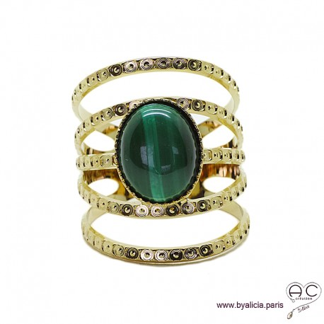 Bague avec malachite ovale en cabochon, multiples anneaux diamanté en plaqué or, large, ouverte, pierre naturelle, femme