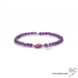 Bracelet améthyste et rubis, pierre naturelle, pampille arbre de vie en argent, élastique, création by Alicia