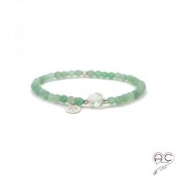 Bracelet pierre naturelle verte, aventurine et prasiolite, pampille arbre de vie en argent, élastique, création by Alicia