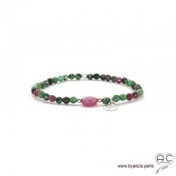 Bracelet rubis zoîsite et rubis rouge, pierre naturelle, pampille arbre de vie en argent, élastique, création by Alicia