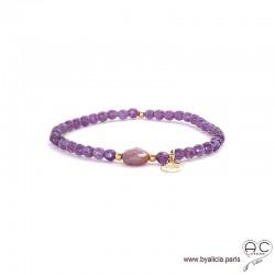Bracelet améthyste et rubis, pierre naturelle, pampille arbre de vie en plaqé or, élastique, création by Alicia