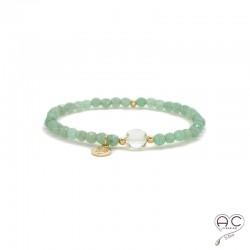 Bracelet aventurine et prasiolite, pierre naturelle verte, pampille arbre de vie en plaqué or, élastique, création by Alicia