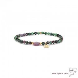 Bracelet rubis zoîsite et rubis rouge, pierre naturelle, pampille arbre de vie en plaqué or, élastique, création by Alicia