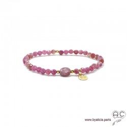 Bracelet tourmaline et rubis, pierre naturelle rose, pampille arbre de vie en plaqué or, élastique, création by Alicia