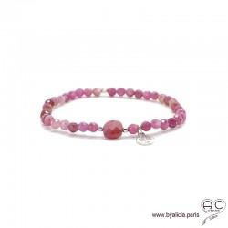 Bracelet tourmaline et rubis, pierre naturelle rose, pampille arbre de vie en argent 925, élastique, création by Alicia