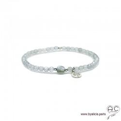 Bracelet labradorite, pampille arbre de vie en argent 925, pierre naturelle gris irisé, élastique, création by Alicia