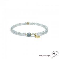 Bracelet labradorite, pampille arbre de vie en plaqué or, pierre naturelle gris irisé, élastique, création by Alicia