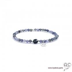 Bracelet saphir d'eau et onyx, pierre naturelle, pampille arbre de vie en argent 925, élastique, création by Alicia