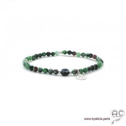 Bracelet rubis zoîsite et onyx, pierre naturelle, pampille arbre de vie en argent 925, élastique, création by Alicia