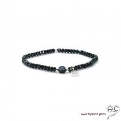 Bracelet spinelle et onyx, pierres naturelles noires, pampille arbre de vie en argent 925, élastique, création by Alicia