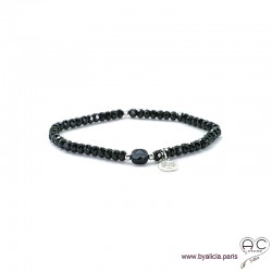 Bracelet spinelle noire et agate noire, pampille arbre de vie en argent, pierres naturelles sur élastique, création by Alicia