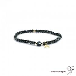 Bracelet spinelle et onyx, pierres naturelles noires, pampille arbre de vie en plaqué or, élastique, création by Alicia