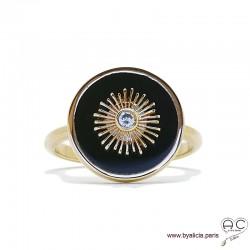 Bague ronde en agate noire avec soleil serti d'un brillant zirconium, plaqué or, femme