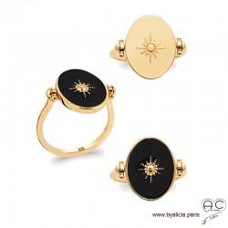 Bague réversible ovale avec étoile dorée sur émail noir d'un côté et plaqué or de l'autre, femme