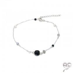 Bracelet onyx noir, spinelle, labradorite et perle, pierres fines sur une chaînette en argent 925 rhodié, création by Alicia