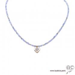 Collier LALY en tanzanite avec une médaille vintage, pierre naturelle, plaqué or, fin, ras de cou, création by Alicia