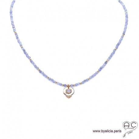 Collier LALY tanzanite avec une médaille vintage, pierre naturelle, plaqué or, fin, ras de cou, création by Alicia