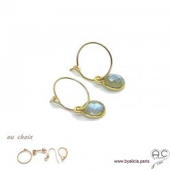 Boucles d'oreilles labradorite et plaqué or, pierre naturelle, pendantes, création by Alicia