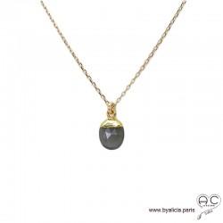 Collier pendantif pierre de lune grise, plaqué or, pierre fine, ras de cou, création by Alicia