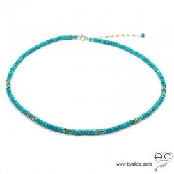 Collier turquoise et plaqué or, ras de cou, bohème chic, création by Alicia
