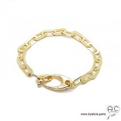 Bracelet BERYL chaîne gros maillons larges rectangulaires et gros fermoir en plaqué or, tendance, création by Alicia
