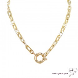 Collier BERYL chaîne gros maillons rectangulaires et gros fermoire en plaqué or, ras de cou, tendance, création by Alicia