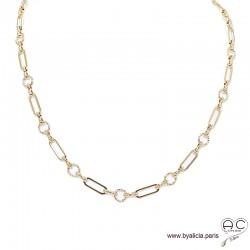 Collier ADELE-C chaîne gros maillons en plaqué or, ras de cou, tendance, création by Alicia