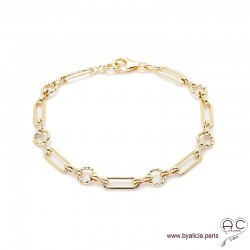 Bracelet ADELE chaîne gros maillons en plaqué or, tendance, création by Alicia