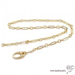 Collier, sautoir ADELE chaîne gros maillons avec gros fermoir en plaqué or, réglable, ras de cou ou long, création by Alicia