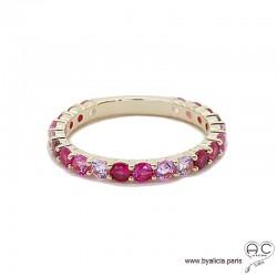 Bague alliance, anneau fin sertie de zirconium rose en plaqué or, empilable, femme