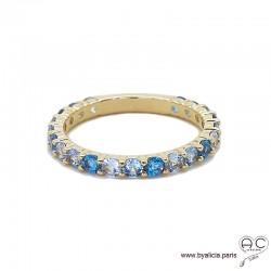 Bague alliance, anneau fin sertie de zirconium bleu en plaqué or, empilable, femme