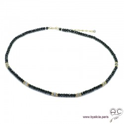 Collier spinelle noire et labradorite ras de cou, plaqué or, bohème chic, création by Alicia