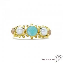 Bague avec amazonite, perle de culture et pierre du soleil, anneau fin en plaqué or, pierres fines, femme