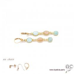 Boucles d'oreilles amazonite, pierre de lune, pierre du soleil, cascade de pierres fines, plaqué or, création by Alicia