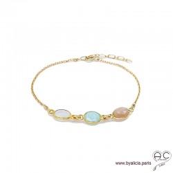 Bracelet amazonite, pierre de lune, pierre de soleil, pierres fines sur chaîne en plaqué or, création by Alicia