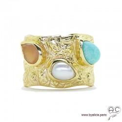 Bague avec amazonite, perle et pierre du soleil, pierres fines serties sur anneau large martelé en plaqué or, femme