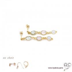 Boucles d'oreilles quartz rose, pierre de lune, prasiolite, cascade de pierres fines, plaqué or, création by Alicia